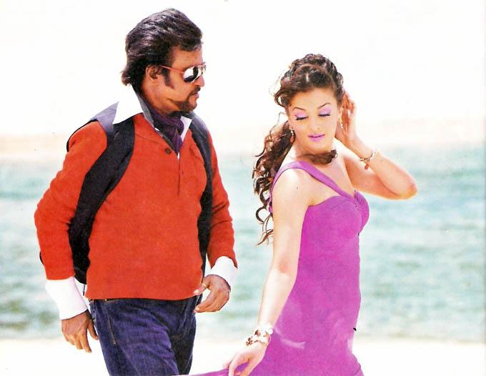 Aishwarya Rai and Rajini Kanth Romance in a Car for 'Enthiran'